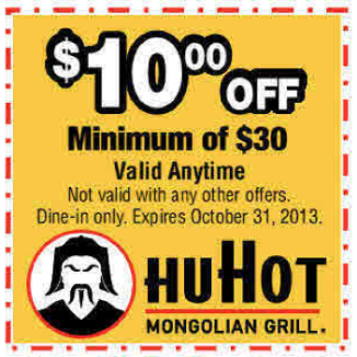 HuHot - Colorado Springs - $10 off $30 purchase 8-2013