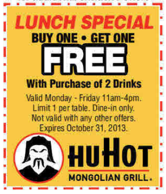 HuHot - Colorado Springs - Buy One Get One Free 8-2013