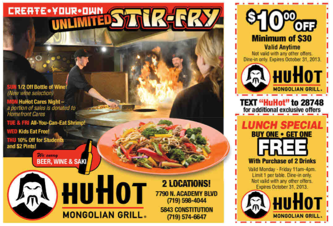 HuHot Coupons - Colorado Springs- 8-2-13